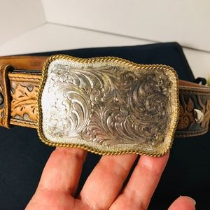 Accessories - Montana Silversmith Cowgirl buckle Leather belt 34